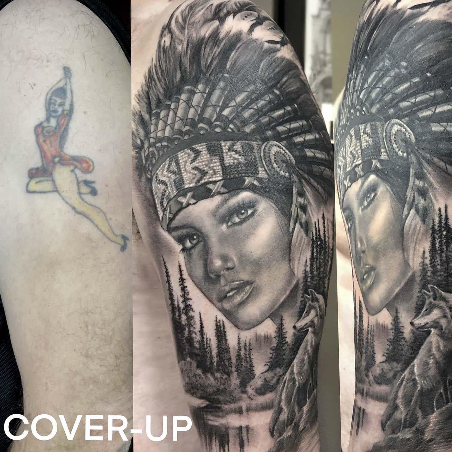 cover-up tattoo indiaan door Lilian Dekkers-INK & Art Company